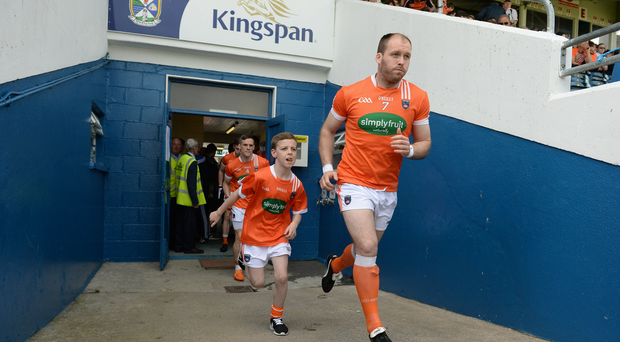 Ciaran McKeever of Armagh leads his team out for the Ulster GAA Football Senior Championship quarter-final between Cavan and Armagh at Kingspan Breffni Park, Cavan. Photo by Oliver McVeigh/Sportsfile