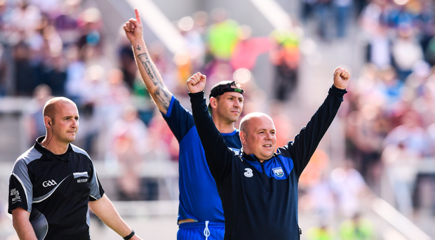 23 July 2017; Waterford manager Derek McGrath and selector Dan Shanahan celebrate a late point during the GAA Hurling All-Ireland Senior Championship Quarter-Final match between Wexford and Waterford at Páirc Uí Chaoimh in Cork. Photo by Stephen McCarthy/Sportsfile