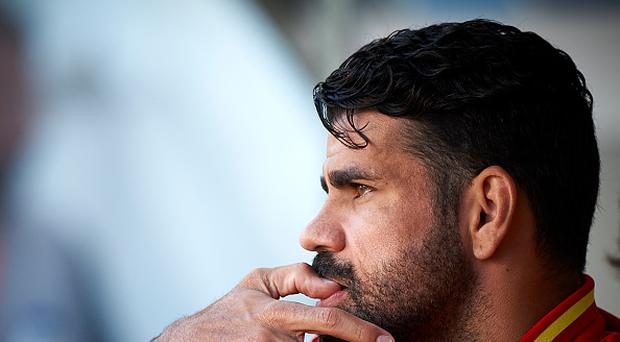 Diego Costa looks on prior the international friendly match between Spain and Colombia at Nueva Condomina stadium on June 7, 2017 in Murcia, Spain. (Photo by fotopress/Getty Images)