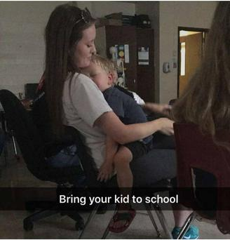 The teen returned to school with her younger brother and brought him to her classes