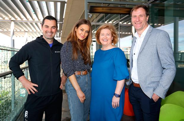 Leading Personal Trainer Karl Henry pictured with Roz Purcell Cookery Author, Celine Doyle Group INM HR Director and Gerry Hussey Performance Psychologist, at the launch of Ireland's Fittest Company Team Challenge in the Gibson Hotel. Picture Credit:Frank Mc Grath 15/8/17