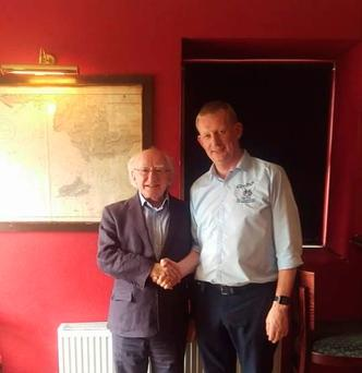 Pic: Owner Alan Gielty with President Micheal D Higgins