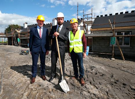 Housing Minister Eoghan Murphy with Carlow/Kilkenny TD Pat Deering and builder Kevin Thorpe at a social housing development in Carlow. Photo: Damien Eagers