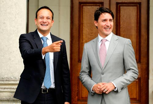 Taoiseach Leo Varadkar and Justin Trudeau during the Canadian prime minister's recent visit to Ireland. Picture: Gerry Mooney