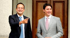 Taoiseach Leo Varadkar and Justin Trudeau during the Canadian prime minister's visit to Ireland. Picture: Gerry Mooney