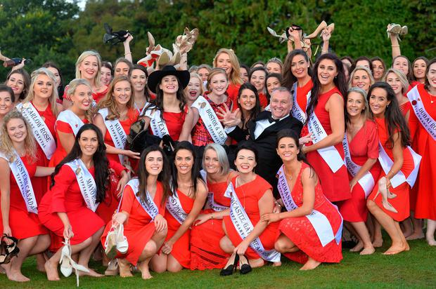Dáithí Ó Sé with the Roses at Malahide Castle in Dublin for the launch of this year's Rose of Tralee. Photo: Domnick Walsh