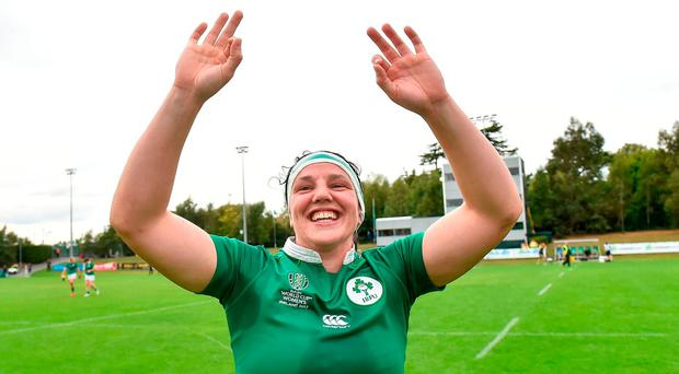 Paula Fitzpatrick of Ireland celebrates after the 2017 Women's Rugby World Cup Pool C match between Ireland and Japan at the UCD Bowl in Belfield, Dublin. Photo by Matt Browne/Sportsfile