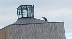 Three young boys on top of the Clonard Village Centre in October 2016
