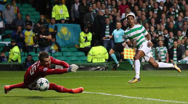 GLASGOW, SCOTLAND - AUGUST 16: Scott Sinclair of Celtic scores his team's second goal during the UEFA Champions League Qualifying Play-Offs Round First Leg match between Celtic FC and FK Astana at Celtic Park on August 16, 2017 in Glasgow, United Kingdom. (Photo by Ian MacNicol/Getty Images)