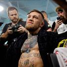 Conor McGregor has his hands wrapped before a workout in front of the media in Las Vegas. (AP Photo/John Locher)