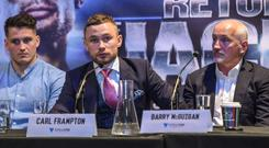 Carl Frampton, centre, with trainers Shane, left, and Barry McGuigan during a Press Conference at Europa Hotel, in Belfast. Photo: Matt Browne/Sportsfile