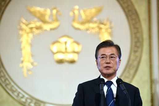 South Korean President Moon Jae-in speaks during a press conference marking his first 100 days in office at the presidential house in Seoul Thursday (Jung Yeon-Je/Pool Photo via AP)