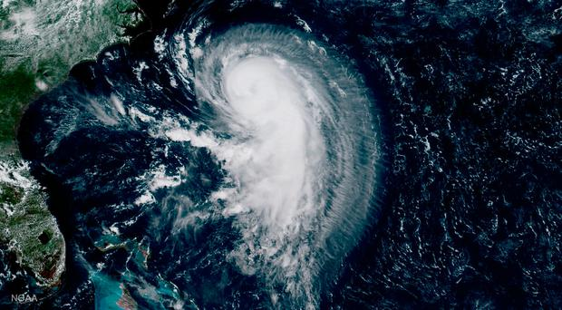 This NOAA handout GOES-16 satellite image obtained August 16, 2017 shows Hurricane Gert in the Atlantic Ocean on August 15, 2017. AFP PHOTO / NOAA / Handout