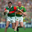James Horan, Mayo, is tackled by Liam O'Flaherty, Kerry, in the 1997 All-Ireland, the year after Horan's spectacular goal.. Picture credit; Ray McManus / SPORTSFILE