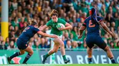 Nora Stapleton of Ireland in action against Safi N'Diaye and Gaelle Mignot of France during the 2017 Women's Rugby World Cup Pool C match between France and Ireland at the UCD Bowl in Belfield, Dublin. Photo by Matt Browne/Sportsfile