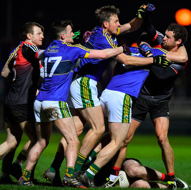 Kerry and Mayo players during last February's NFL duel. Photo: Sportsfile