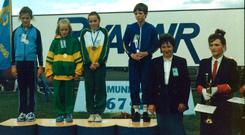 Sinead Kissane receives her my U10 200m gold medal at 1988 National Community Games finals