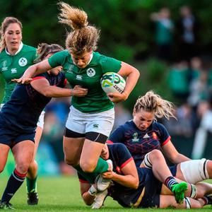 Jenny Murphy of Ireland is tackled by from left, Gaelle Mignot, Lenaig Corson and Romane Menager of France during the 2017 Women's Rugby World Cup Pool C match between France and Ireland at the UCD Bowl in Belfield, Dublin. Photo by Matt Browne/Sportsfile