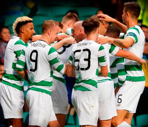 Celtic players celebrate one of their five goals in Wednesday night's Champions League play-off first leg win over Astana at Celtic Park. Photo: PA