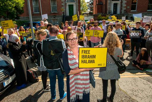 Pauline McLynn with fellow campaigners calling for the release of Ibrahim Halawa, inset below. Photo: Doug O'Connor