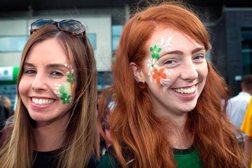 Ireland fans Emer Heslin, from Leitrim, and Jane Fitzpatrick, from Offaly. Picture: Tony Gavin