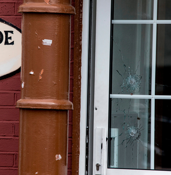 Bullet holes near the scene. Photo: Mark Condren