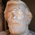 The defaced General Robert E Lee statue at the Duke Chapel in Durham, North Carolina. Photo: AP