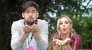 Thursday, 17th August 2017: Three Ireland has been announced as official sponsor of RTEs Electric Picnic coverage. RTE broadcasters, Blaithnaid Tracey and Eoghan McDermott were pictured channelling their inner disco diva at the announcement. Pic Brian McEvoy