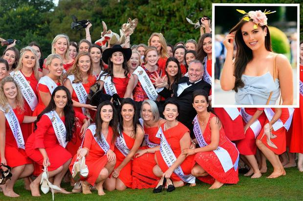 Holly Carpenter (inset) and Dáithí Ó Sé with the Roses at Malahide Castle in Dublin for the launch of this year's Rose of Tralee. Photo: Domnick Walsh