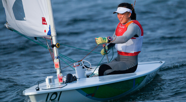 15 August 2016; Annalise Murphy of Ireland following the postponement of the Women's Laser Radial Medal race on the Pao de Acucar course, Copacabana, during the 2016 Rio Summer Olympic Games in Rio de Janeiro, Brazil. Photo by Ramsey Cardy/Sportsfile