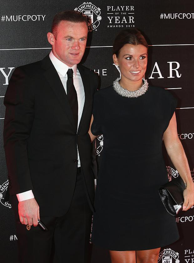 Wayne Rooney of Manchester United arrives with his wife Coleen Rooney at the club's annual Player of the Year awards at Old Trafford on May 2, 2016 in Manchester, England. (Photo by Tom Purslow/Man Utd via Getty Images)