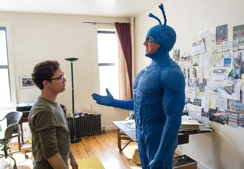 Griffin Newman and Peter Serafinowicz at The Tick. Amazon's new series kicks off on August 25
