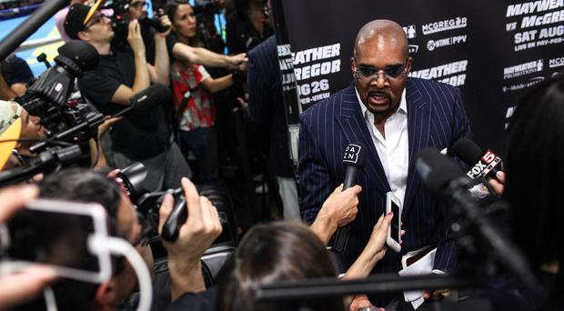 Leonard Ellerbe, CEO of Mayweather Promotions, speaks to media during a press event at the Mayweather Boxing Club in Las Vegas, USA on August 10, 2017. Mayweather Jr. will fight Connor McGregor at the T-Mobile Arena in Nevada on August 26. (Photo by Joel Angel Juarez/Anadolu Agency/Getty Images)