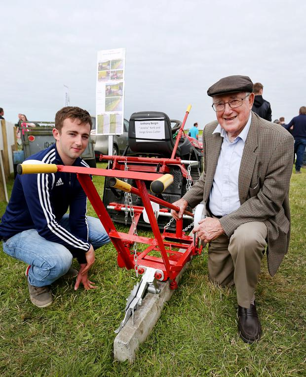 Tullamore Show 2017. Anthony Bergin and his grandson Steven Campion pictured in the inventions arena. Picture; Gerry Mooney