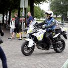 Finnish police patrols on motorbike after stabbings in Turku, in Central Helsinki, Finland Photo: Reuters