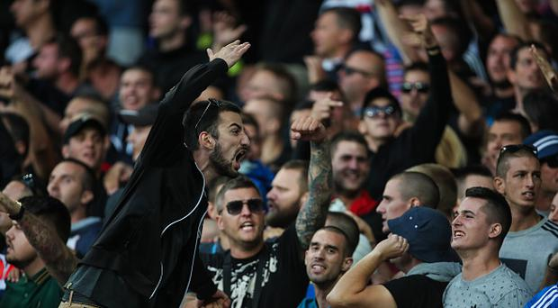 Fans of Hadjuk Split during the UEFA Europa League Qualifying Play-Offs round first leg match between Everton FC and Hajduk Split at Goodison Park on August 17, 2017 in Liverpool, United Kingdom. (Photo by Robbie Jay Barratt - AMA/Getty Images)