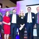 (L-R) Pat Rigney - Shed Distillery, Alison Cowzer, The Company of Food, Eamonn Quinn, Noreen Doyle - Irish Biltong Company, Joe Barrett - Applegreen & Michael Creed, Minister for Agriculture, Food and Marine