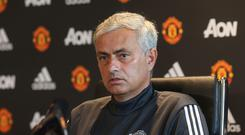 Manager Jose Mourinho of Manchester United speaks during a press conference at Aon Training Complex on August 18, 2017 in Manchester, England. (Photo by John Peters/Man Utd via Getty Images)