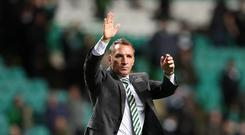 Celtic manager Brendan Rodgers celebrates at full time during the UEFA Champions League Qualifying Play-Offs Round First Leg match between Celtic FC and FK Astana at Celtic Park on August 16, 2017 in Glasgow, United Kingdom. (Photo by Ian MacNicol/Getty Images)