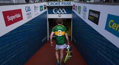 Kerry captain Fionn Fitzgerald brings the cup back to the dressing room following the Allianz Football League Division 1 Final match between Dublin and Kerry at Croke Park in Dublin. Photo by Stephen McCarthy/Sportsfile