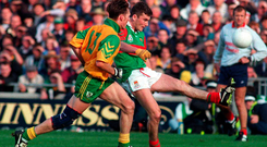 James Horan in action against Colm Brady in the 1996 All-Ireland football final replay between Mayo and Meath. Photo: Sportsfile