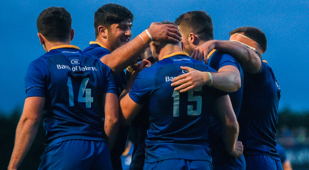 Jordan Larmour of Leinster is congratulated by team-mates after scoring his side's sixth try during the Bank of Ireland Pre-season Friendly match between Leinster and Gloucester at St Mary's RFC in Dublin. Photo: Sportsfile