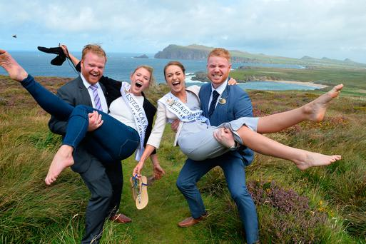 Western Canada Rose Sinead McGahern and the Kilkenny Rose Tara Roche with escorts Barry McGuire and Pat O'Donnell in west Kerry. Photo: Domnick Walsh