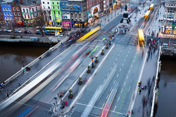 A view from above of O'Connell Bridge. Stock picture