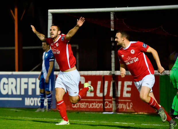 Kurtis Byrne of St Patrick's Athletic celebrates after scoring his side's second goal Photo: Sportsfile