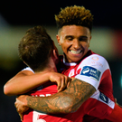 Seamus Sharkey (L) celebrates with Tobi Adebayo-Rowling after of Sligo Rovers win over Cork City at Turner's Cross Photo: Sportsfile