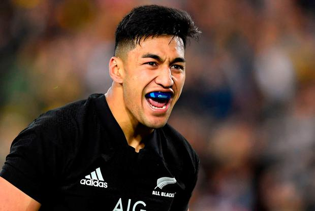 New Zealand's wing Rieko Ioane celebrates one of his tries during the Rugby Championship test match between Australia and the New Zealand All Blacks in Sydney