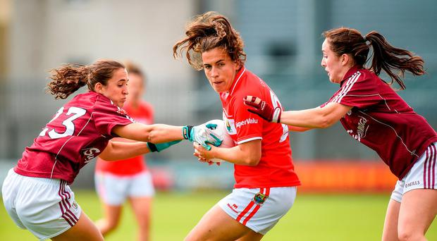 Brid O'Sullivan of Cork in action against Dora Gorman Lisa Gannon of Galway during the TG4 Ladies Football All-Ireland Senior Championship Quarter-Final match between Cork and Galway at Cusack Park in Westmeath. Photo by Matt Browne/Sportsfile