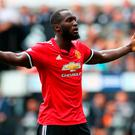 Manchester United's Romelu Lukaku celebrates his side's fourth goal