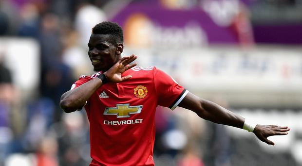 Paul Pogba of Mancheser United celebrates victory after the Premier League match between Swansea City and Manchester United at Liberty Stadium on August 19, 2017 in Swansea, Wales. (Photo by Dan Mullan/Getty Images)